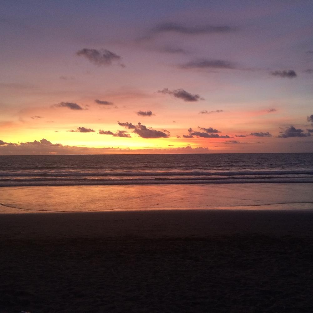 First sunset on the island from Kuta Beach.