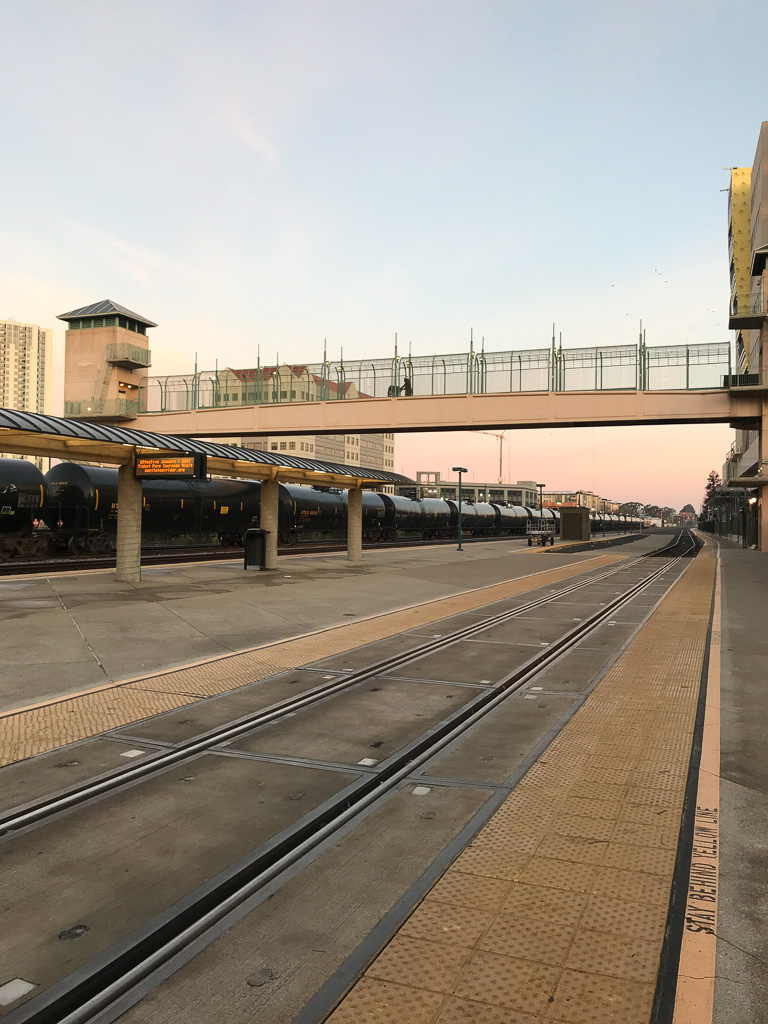 Early morning waiting for the train to Yosemite from Emeryville station.