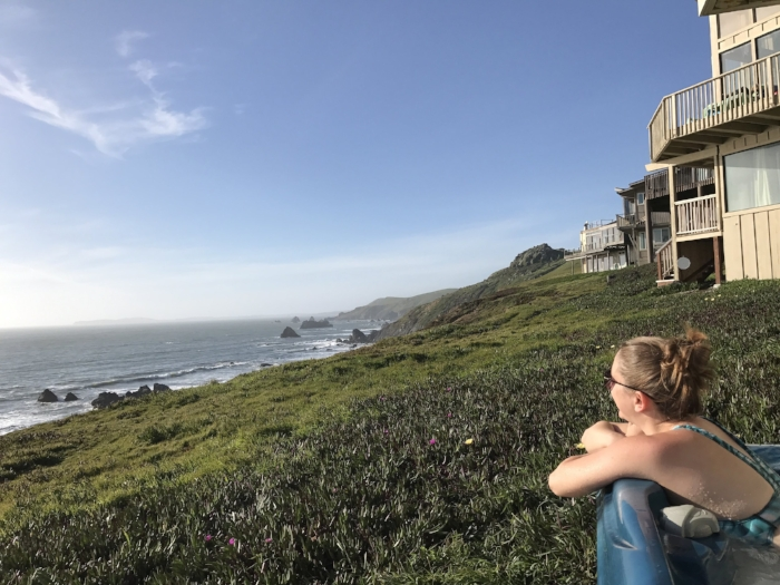 Enjoying some coastal hot tub views in Dillon Beach, near Bodega Bay.