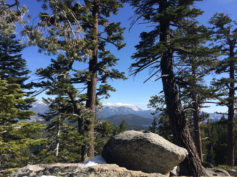 Enjoying the alpine views around Lake Tahoe.