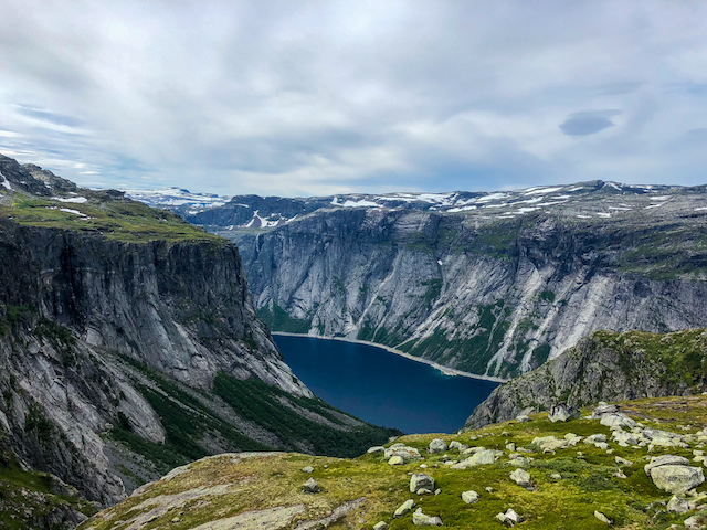 Hiking down from Trolltunga.