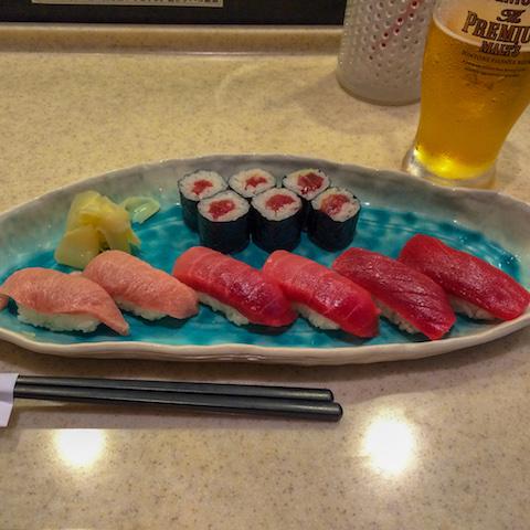 Beautiful sushi in Tokyo.