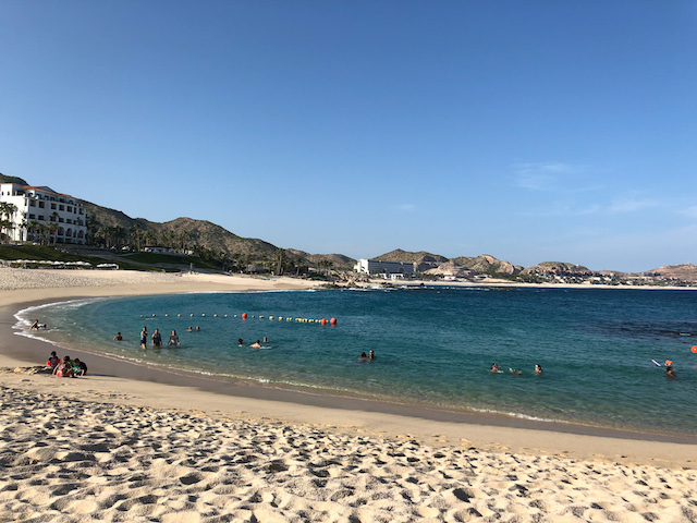 The protected beach outside Paradisus, a rarity in Cabo.