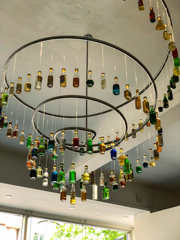 A chandelier at the mini bottle museum.