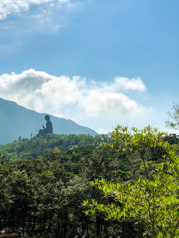 Tian Tan Buddha in the background from the cable car.