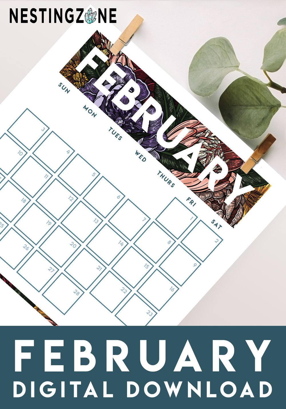Happy February - Plan your month in style with this free 2019 printable.