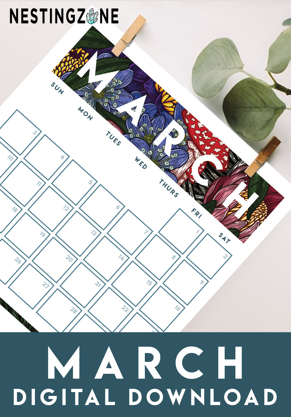 March Madness - Plan your month in style with this free 2019 printable.