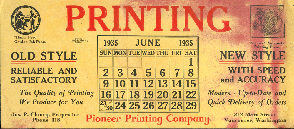 Promotional piece from Pioneer Printing,11 years before this Linotype was built!