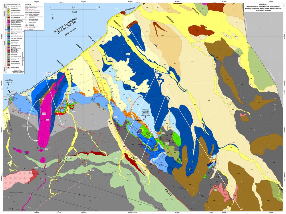 Bennett_Supplemental Figure 2-2_SW Isla Tiburon geol map.png