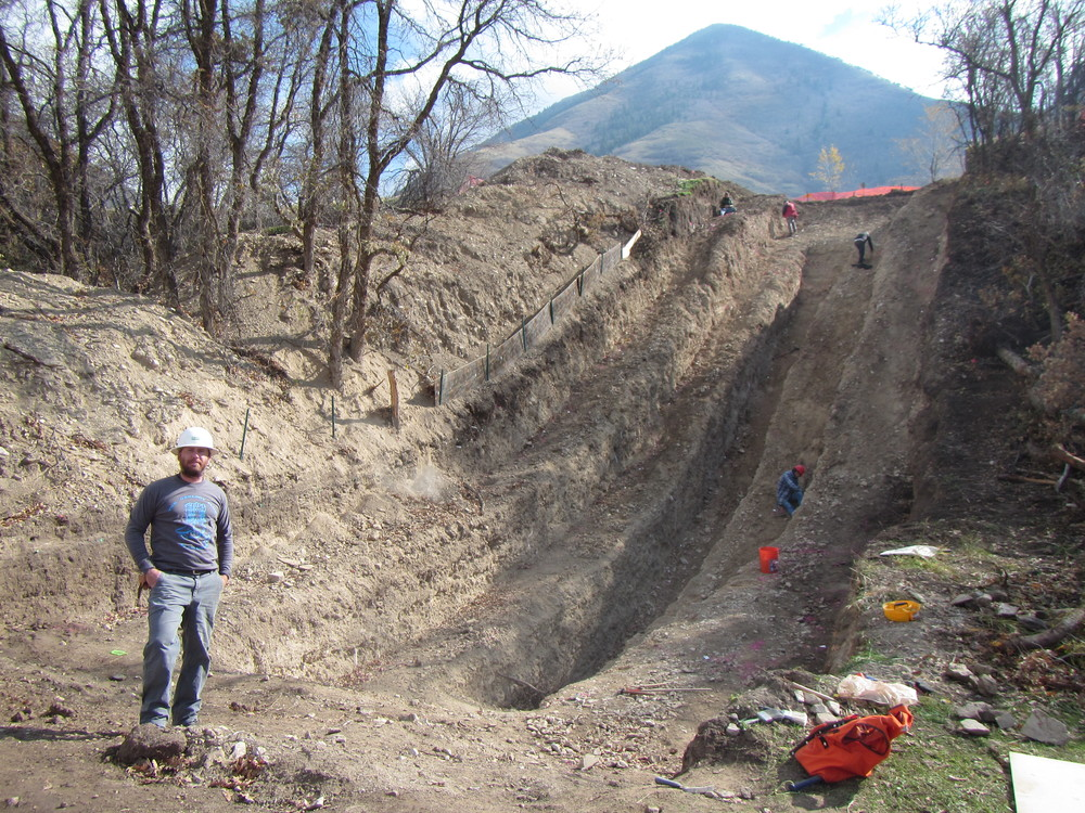 Bennett in UC Davis Geol Club shirt at Flat Canyon trench Wasatch fault.JPG
