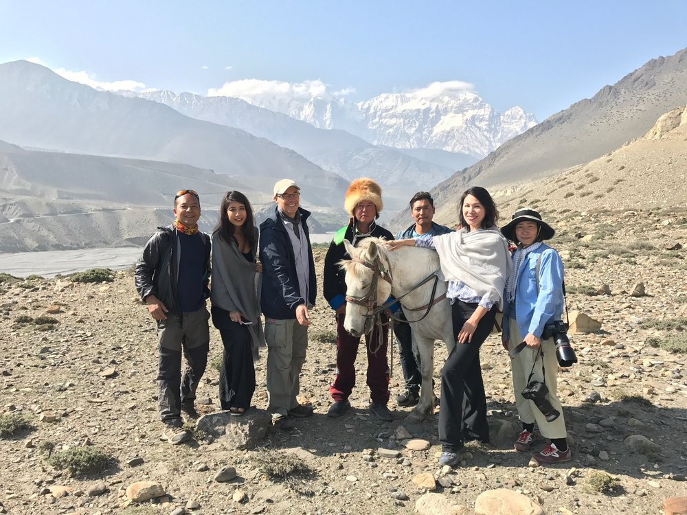 ( From left to right: local production assistant Tsering Dorje, Asmi Shrestha, director Adri Berger, local guide Nobu San and his assistant, Casana founder Carrie Chen, and production photographer Yumiko Izu )