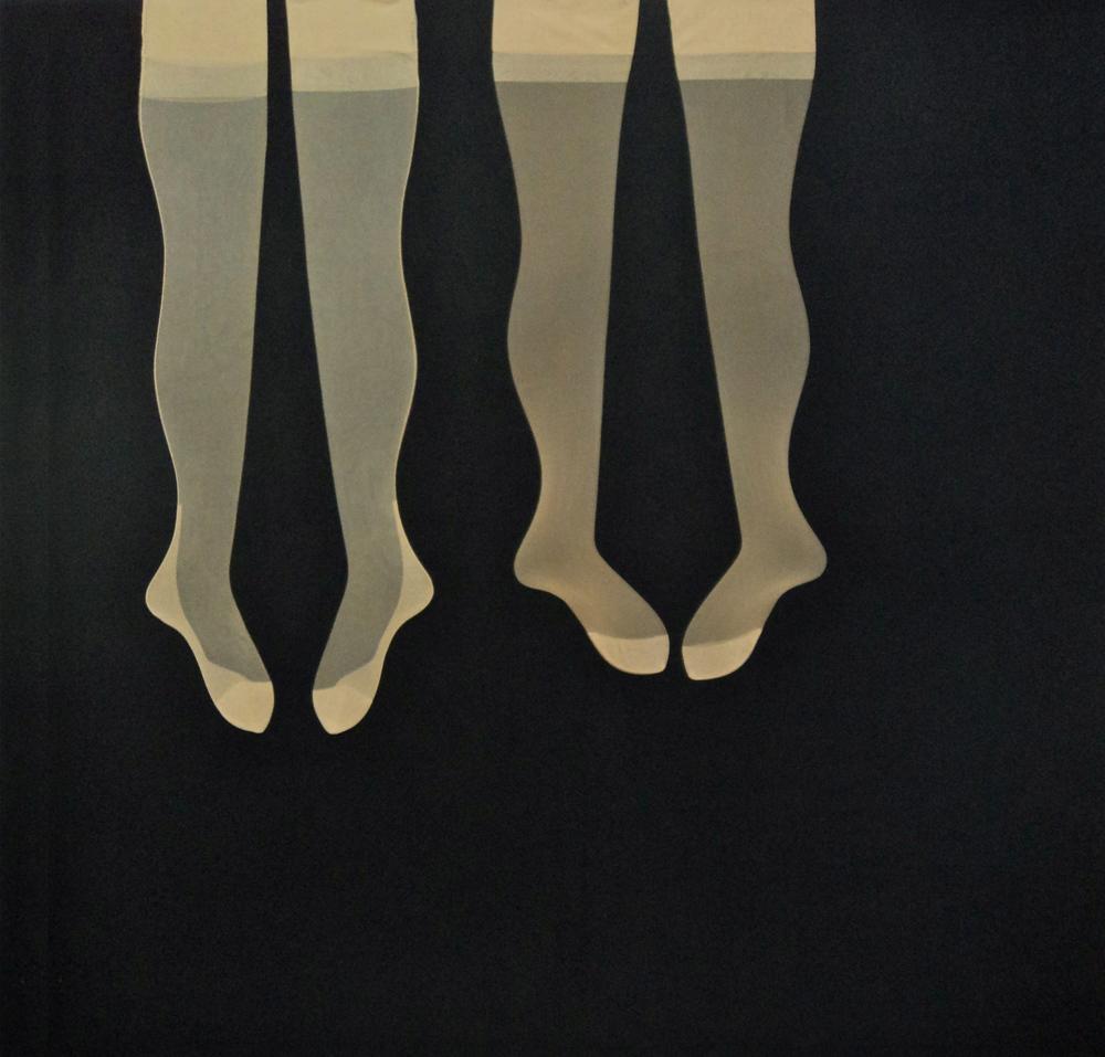 Nr.2, Nylons auf Leinwand genäht, 150x150 cm