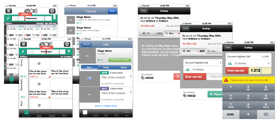 (left)  Program Guide grid and list views, browsing and auction experience on the go. ( right)  Early concept for placing bids on mobile app, making great use of iOS notifications.