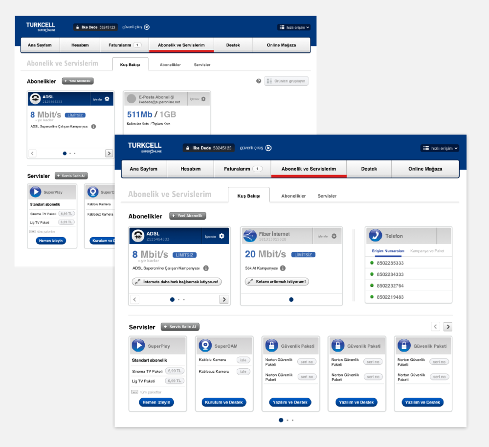 """Bird's-eye view"" allows users to display multiple subscription and service statuses on a single dashboard and take offered or required actions."