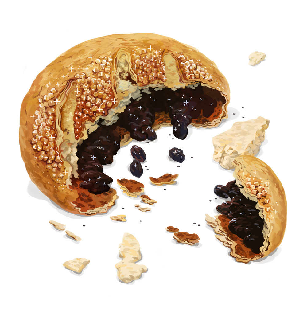 Northern Heroes: Eccles Cake. Currants in flaky pastry covered in sugar