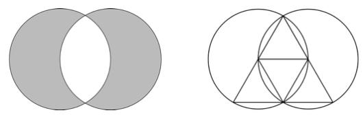 Figure 2: The Vesica Pisces - 2 dimensions          Figure 3: The Vesica Pisces - 3 dimensions