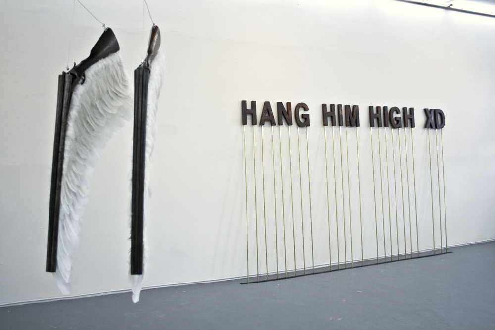 HANG HIM HIGH XD, 2013 - anonymous internet comment, steel, chlorhydric acid, brass, 3x1.90m