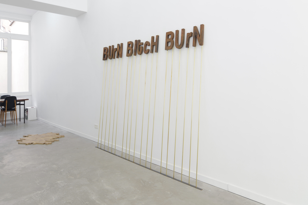 BUrN BItcH BUrN, 2013 - anonymous internet comment, steel,chlorhydric acid,brass,3x1.90m