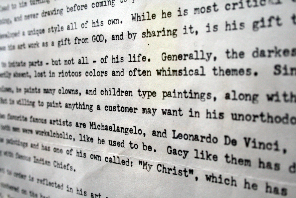 About the Artist ( for Mike Kelley ), 2012 - autobiography of John Wayne Gacy typed by hand from his prison cell, around 1980, 21.6x27.9cm