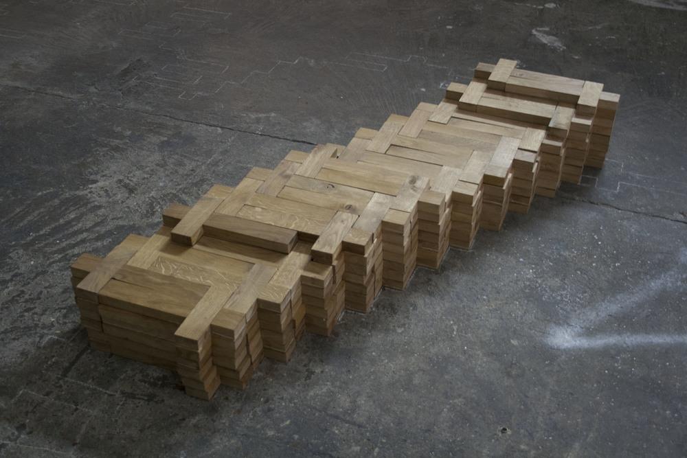 The Aberration of Light 157, 2016 - handmade oak crosses -1.55x.50m