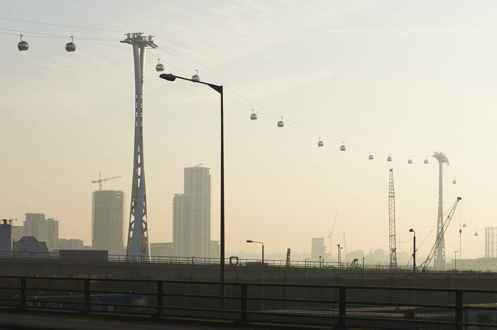 Emirates Cable Car crossing at Silvertown