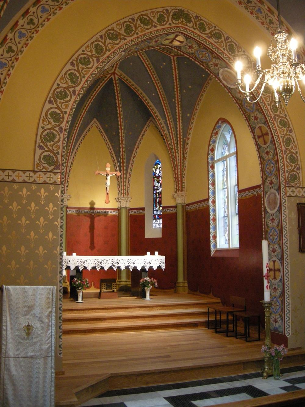 Koret i Sankt Andreas Kirke efter renoveringen.