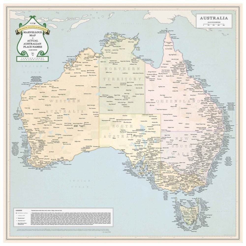 stgs marvellous map of actual australian place names stgs marvellous maps