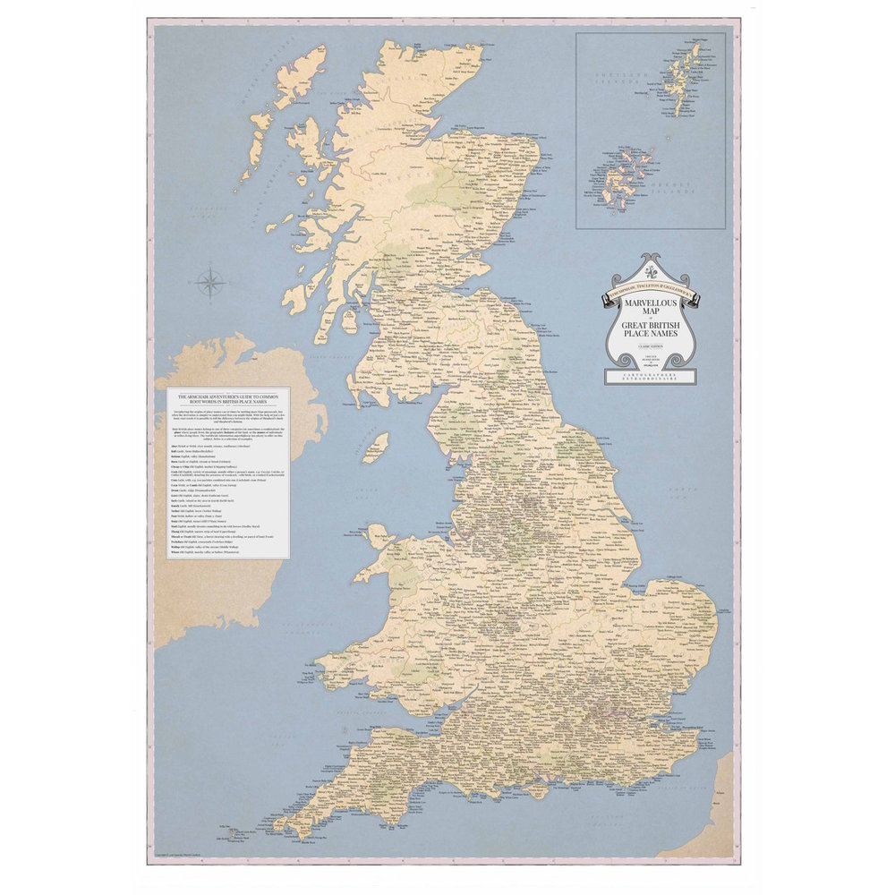 STGs Marvellous Map Of Great British Place Names STGs - Map of the whole world with names
