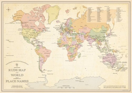 STGs Magnificently Rude Map Of World Place Names STGs - World map with names