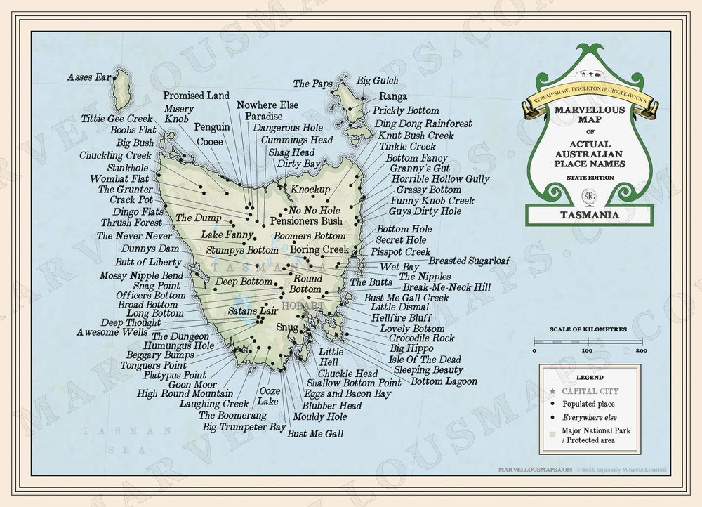 The map of Tasmania: a wondrous thing to behold.