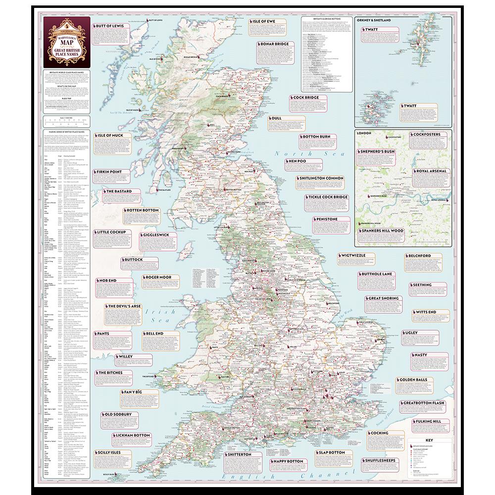 Australia Map Rude Names.Explore Britain S Funny Place Names St G S Marvellous Maps