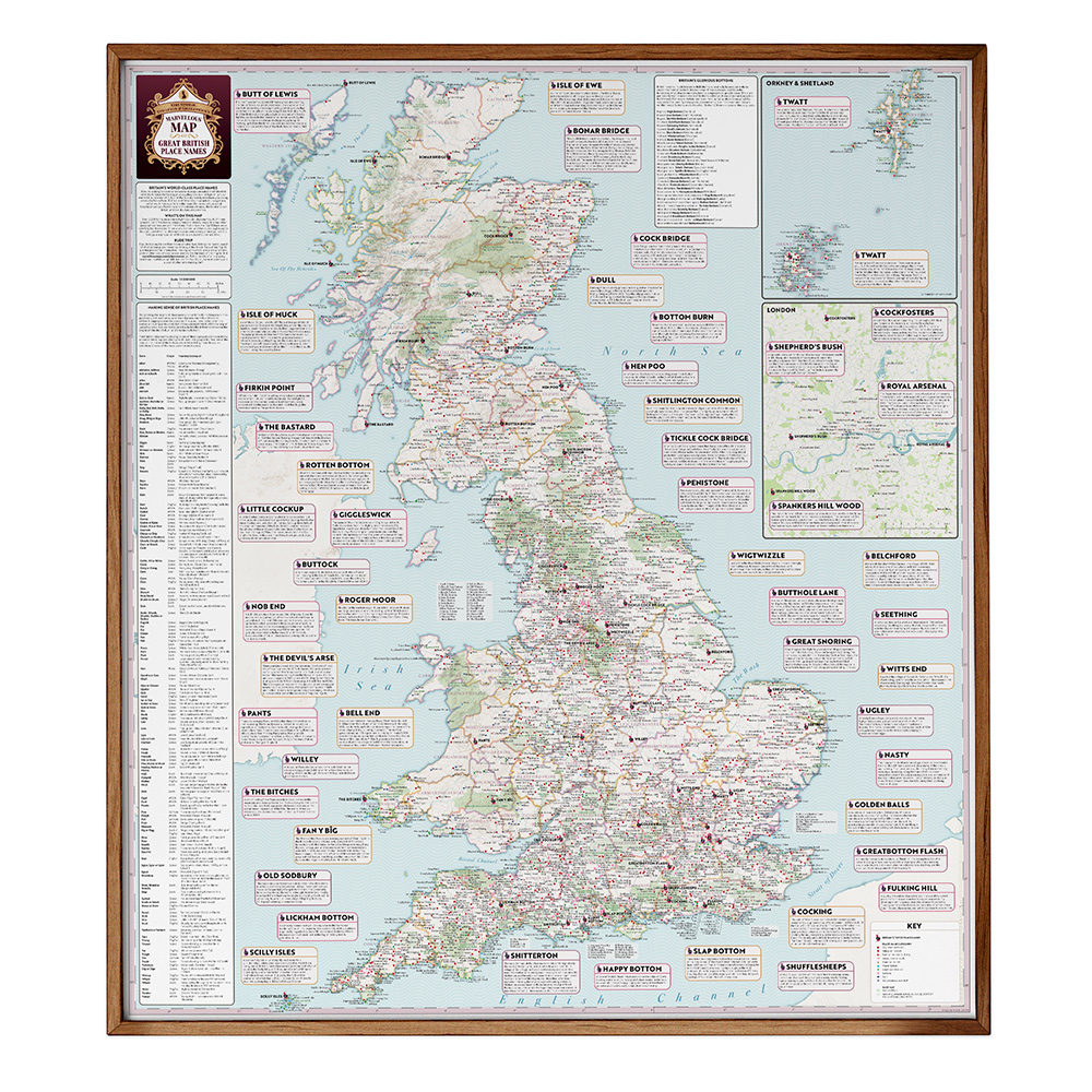 ST&G's Marvellous Map of Great British Place Names - Framed_1000px_Sq_Drop