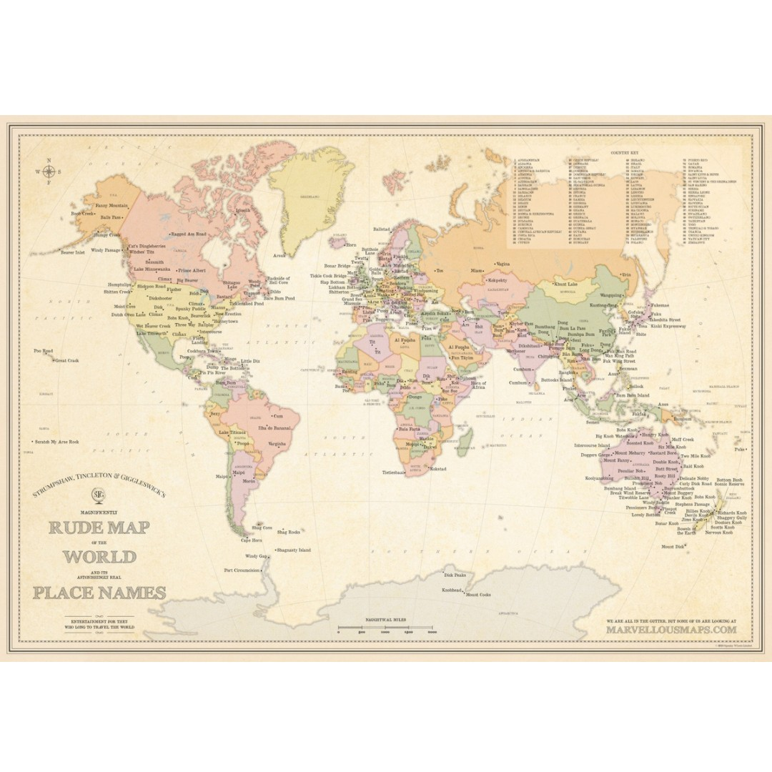Australia Map Rude Names.Stg S Magnificently Rude Map Of World Place Names St G S Marvellous Maps