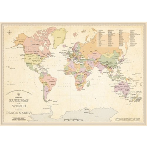 STGs Magnificently Rude Map Of World Place Names STGs - The world map with names