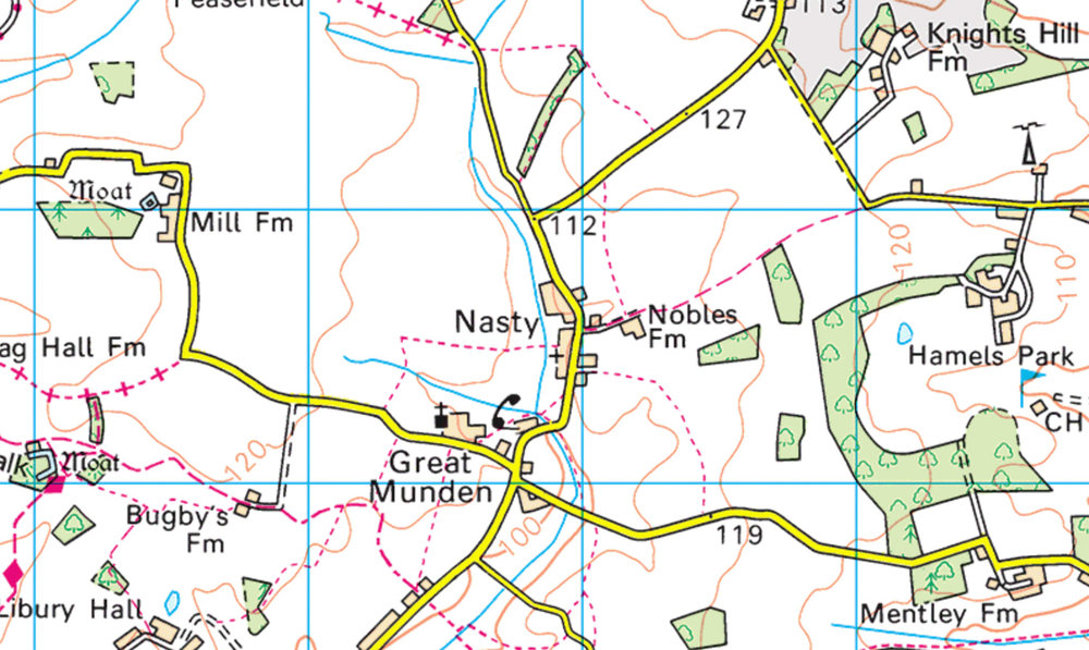 Nasty, Herts  (Ordnance Survey)