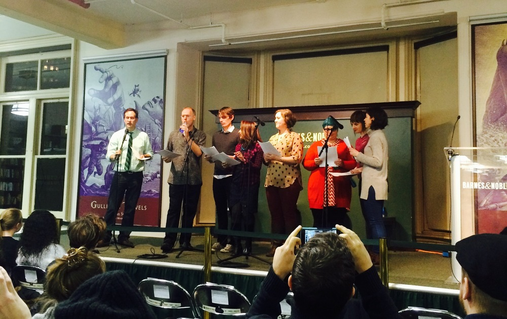 The entire NYC Teen Author Festival Reader's Theater cast: David Levithan, Scott Westerfeld, Kevin Emerson, Tanuja Desai Hidier, me, Holly Black, Heather Demetrios, and Cathleen Bell (March 2015)