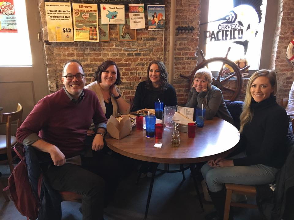 Our Big Read team went out to lunch after leaving the high school. From l-r: Michael Northrop, me, J.J. Howard, Stephanie Kate Strohm, and Tara Crowl. (Not pictured, but also on our team: Sara Mlynowski.)