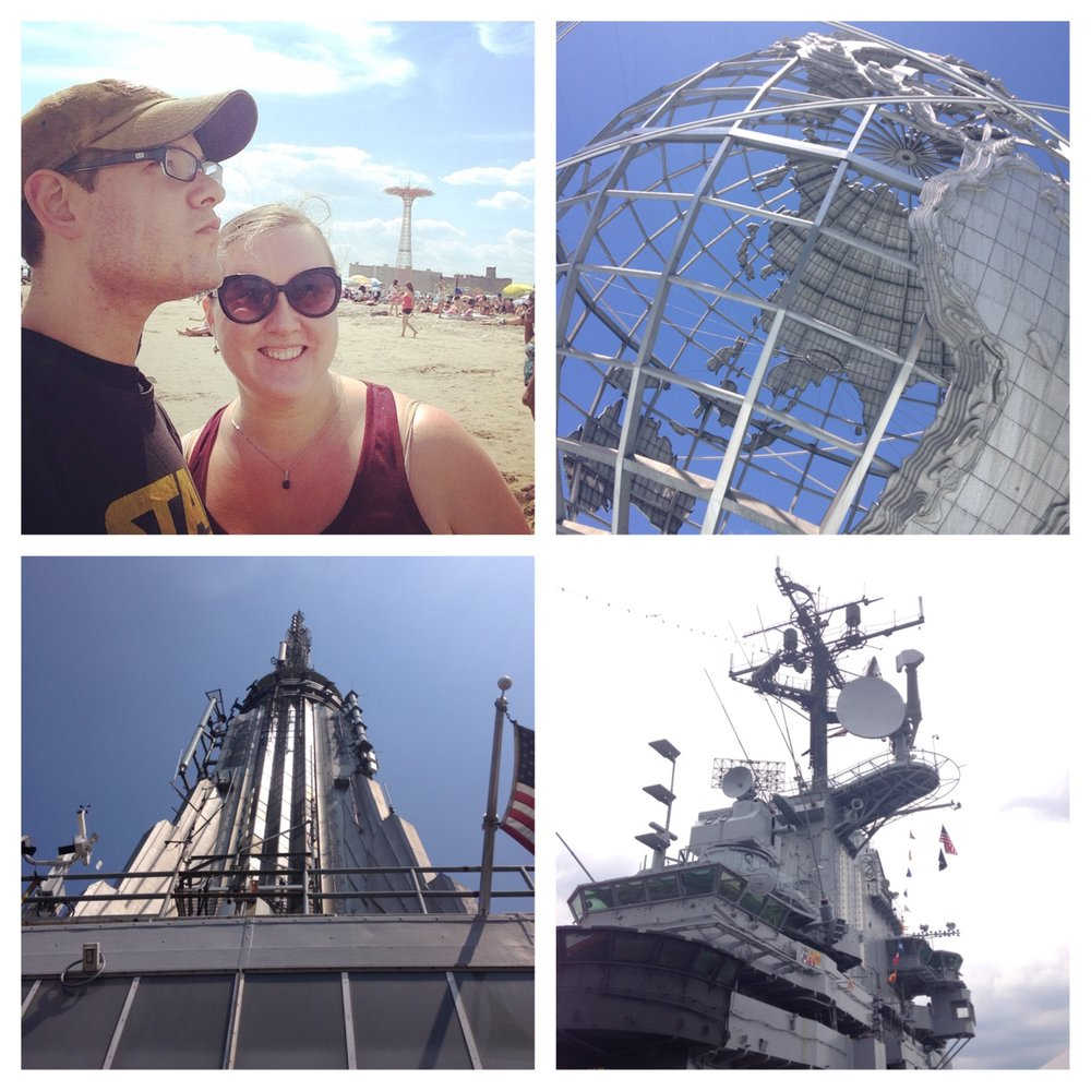 Summer 2014 adventures, clockwise from top left: Coney Island, the Unisphere at the Queens World's Fair site, the U.S.S. Intrepid, and the top of the Empire State Building.