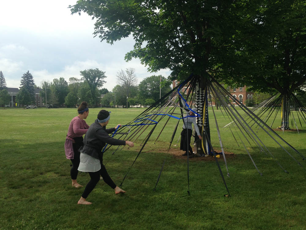 "laura Gordon, Liz Leahy and choreographer Heather Bryce rehearsing ""Over and Under"" at the Vermont College of Fine Arts Green, Montpelier , Vermont. They will be performing on June 20, 5pm at this site."