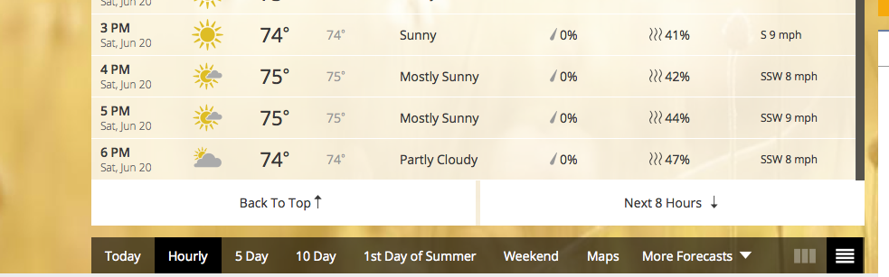 a screenshot of weather.com for saturday June 20, yes!