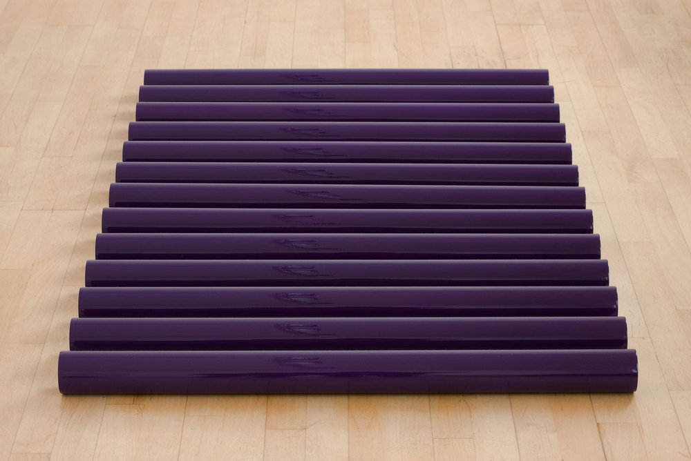 Violet 2008 Plastic, carpaint 13 pipes on floor, each pipe 7cm x 93 cm