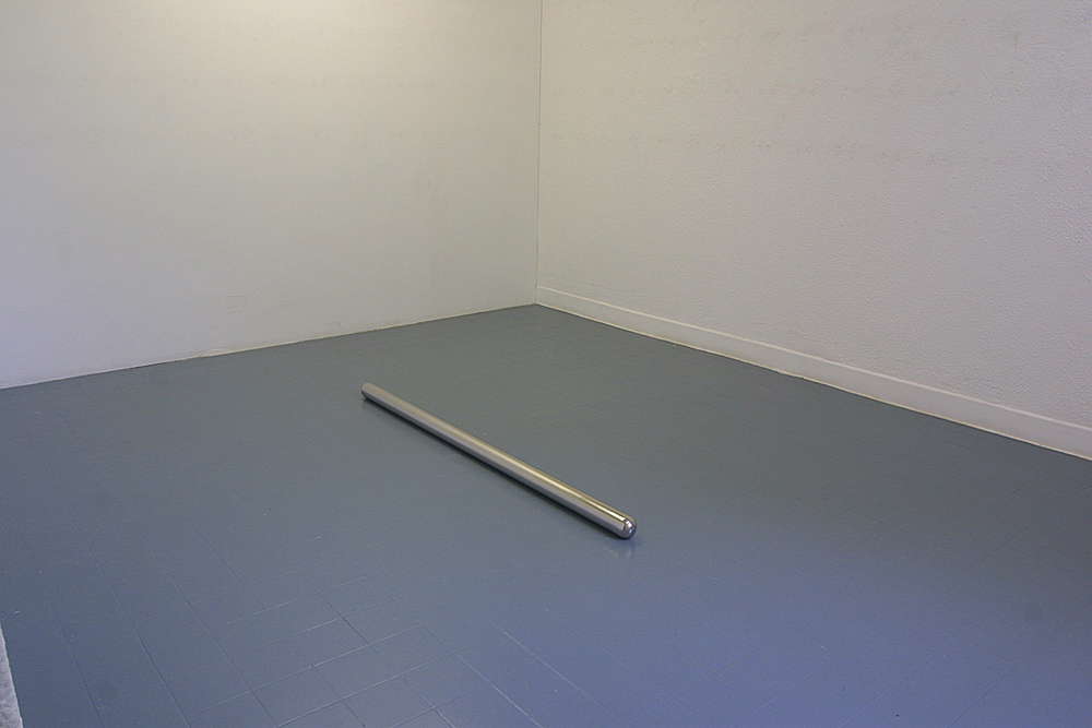 Lay 2003 stainless steel 163 x 8 cm installation view Butler Gallery, Kilkenny, Ireland, 2003