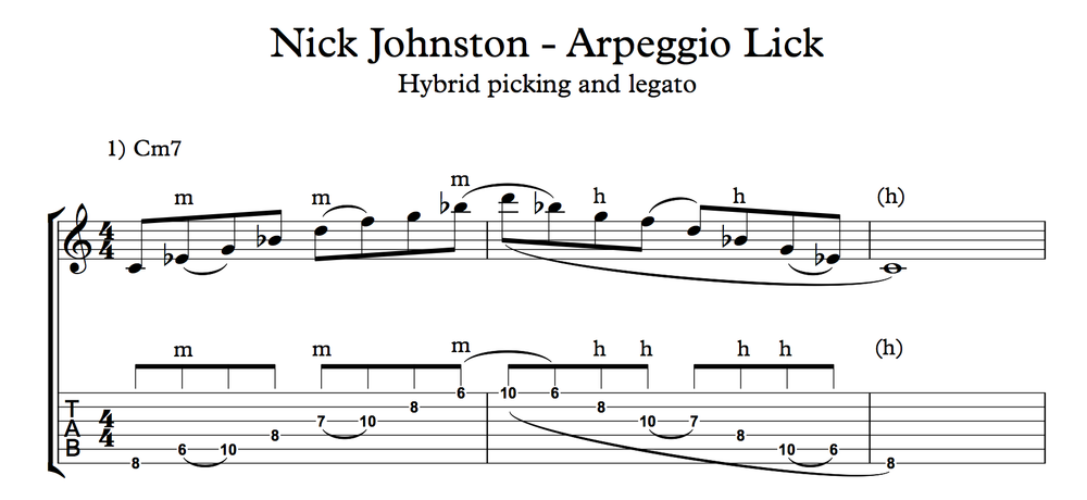 Nick Johnston Guitar - Cm arpeggio Lick