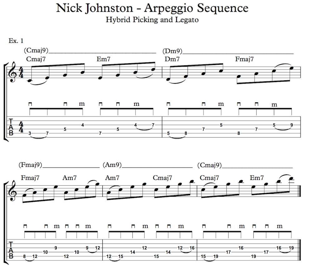 Nick Johnston Guitar - Arpeggio Sequence Lick - Ex. 1 (small)