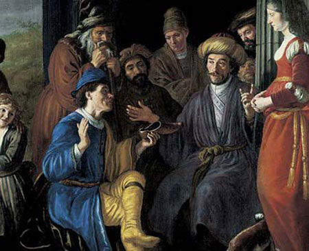 Jan Victors portrays ḥali ṣ ah in Ruth 4, the ritual of absolving one of levirate marriage obligations through the exchange of a shoe.
