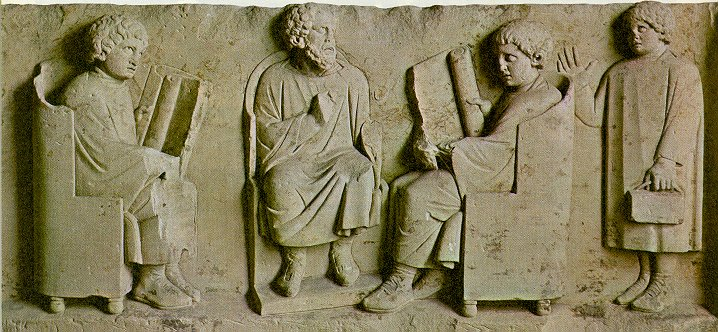 Relief in Neumagen near Trier, a teacher with three discipuli (180-185 CE)