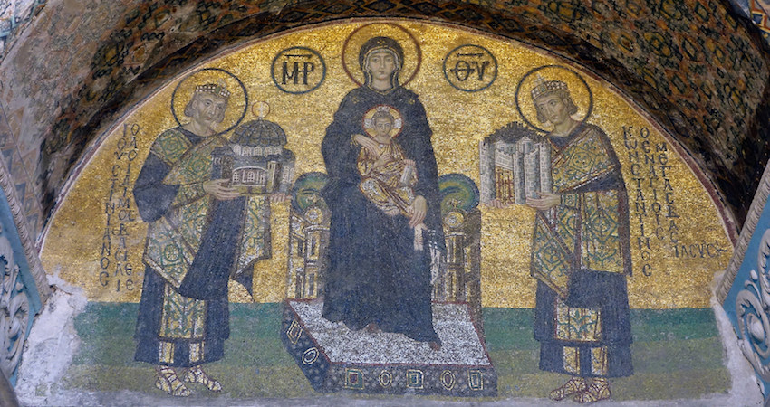 Constantine the Great presents the city (Constantinople) and Justinian the Great presents Hagia Sophia to the Virgin , mosaic