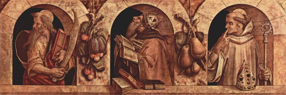 St. Paul, St. Chrysostom, and St. Basil. Carlo Crivelli, 1493.