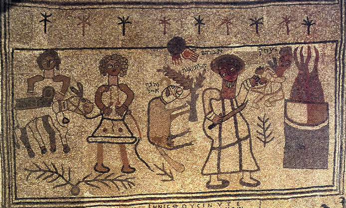 Binding of Isaac panel from the synagogue mosaic at Beth Alpha.