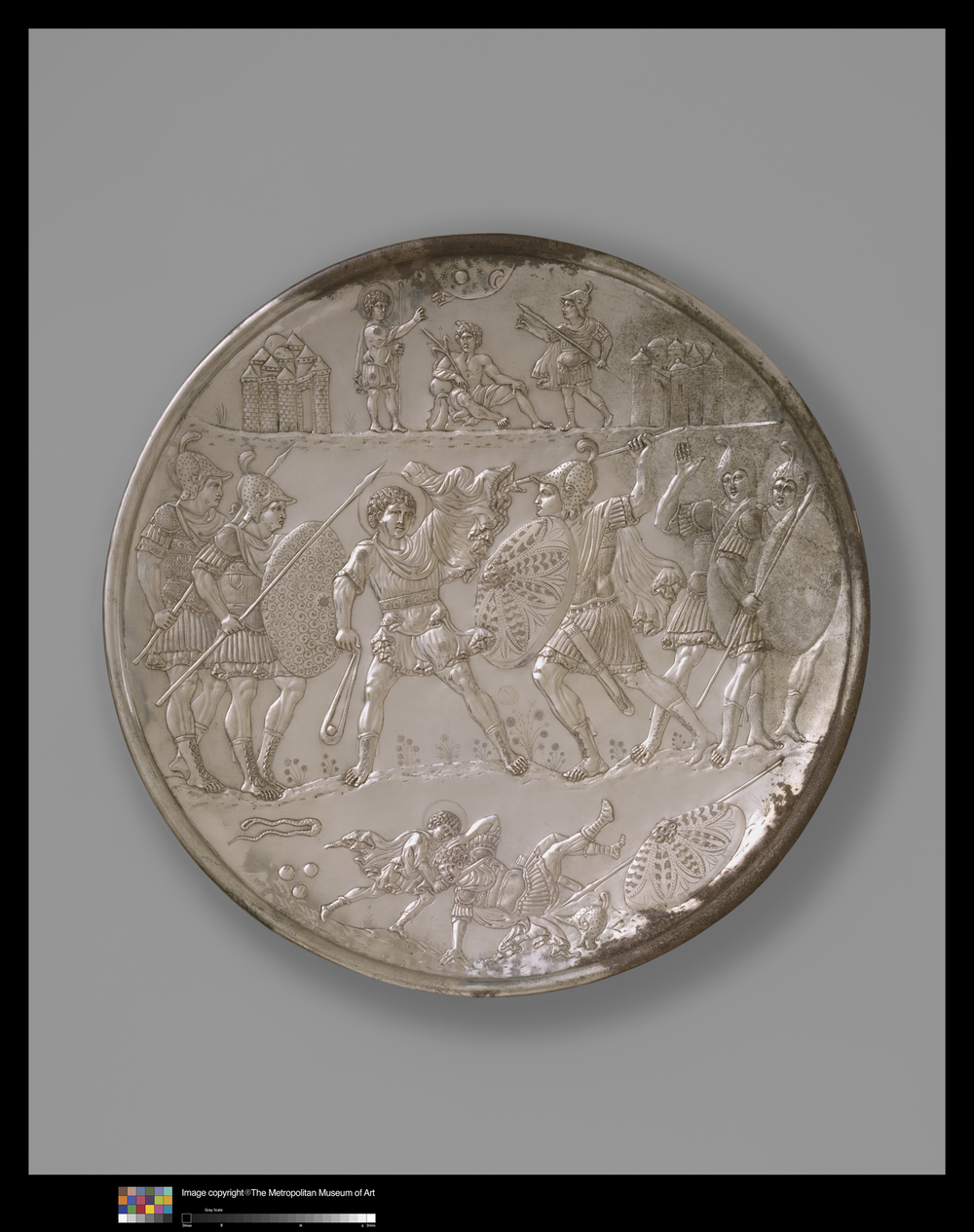 Fig. 3 David and Goliath silver plate, 629-630 CE. The Metropolitan Museum of Art, Gift of J. Pierpont Morgan, 1917 (17.190.396).